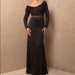 Jovani Off the Shoulder Long Sleeve Gown